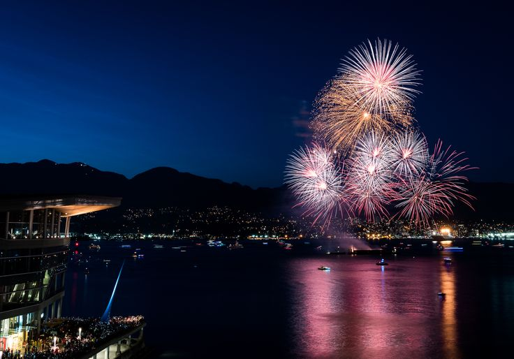Celebrating Canada's 150th birthday at Canada Place.  Fireworks and friends.