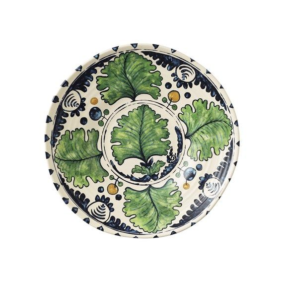 A set of four vibrant melamine side plates, from an original hand-drawn design by Penny Morrison. Inspired by Spanish and Portuguese tin glaze pottery featuring a grape leaf print, Penny's design is created on melamine using a decal transfer in summery shades of yellow, blue and green, then sanded and polished for a smooth finish. The perfect accompaniment when dining al fresco. Matching dinner plates and bowls are available.Find out more about Penny Morrison >