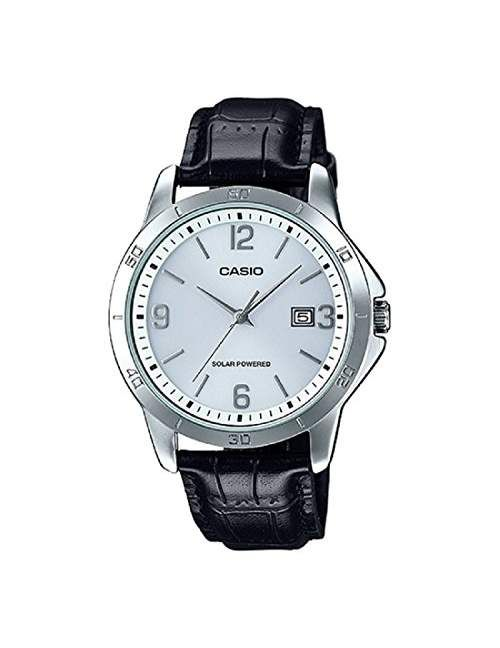 Casio MTP-VS02L-7A Men's Standard Solar Leather Band White Dial Date Watch