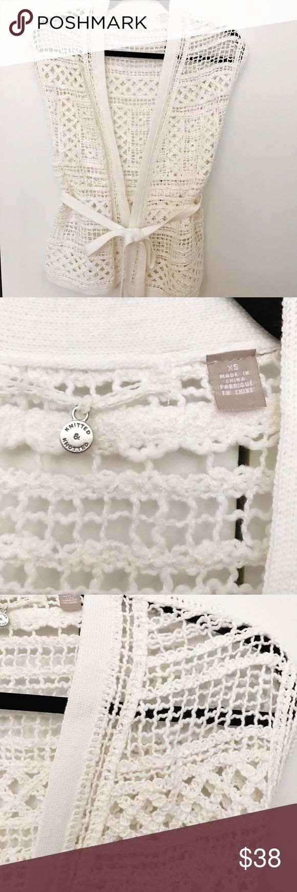 NWOT Anthropologie crochet knit cream sweater NWOT Anthropologie crochet knit cream sweater. Never worn but took the tags off. Also on merc! Anthropologie Sweaters