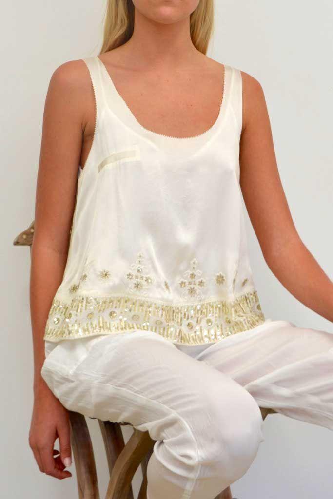 Silk embroidered top cream | Ruby Yaya