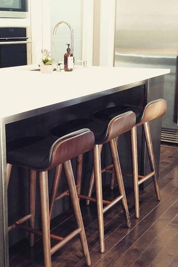 Sede Black Leather Walnut Bar Stool Kitchen Bar Design Kitchen Stools Kitchen Decor