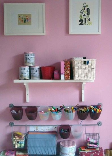 Kids Playroom Design, Pictures, Remodel, Decor and Ideas - BYGEL hanging storage system from IKEA (cheap!)