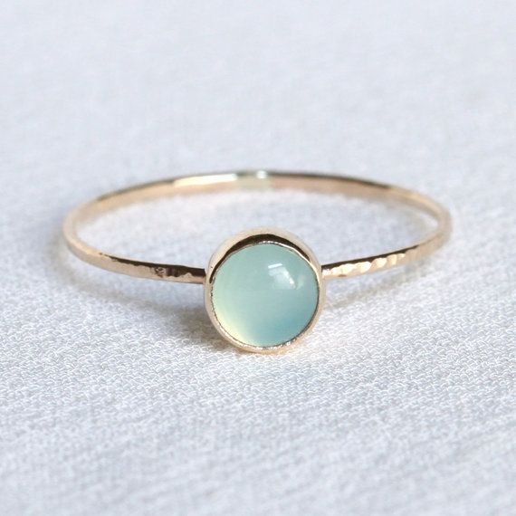 Solid 14k Gold Polar Orb Ring - Simple and Tiny Solid Gold Dainty Stack Ring with Hammered Band - Delicate Jewelry