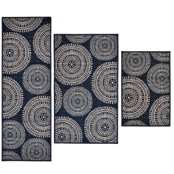 madison home 3 piece aztec blue area rug set