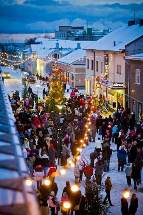 The Pedestrian Street, Vuorikatu, in Hanko Finland. How can we transform our streets to be multi-seasonal? Lively streets year-round.