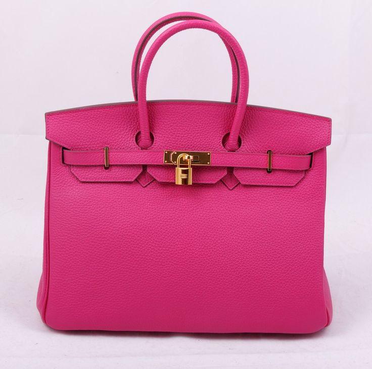 Кожаная сумка Hermes Birkin розовая с золотой фурнитурой, мягкая кожа. Размер 35х25х18см #19431