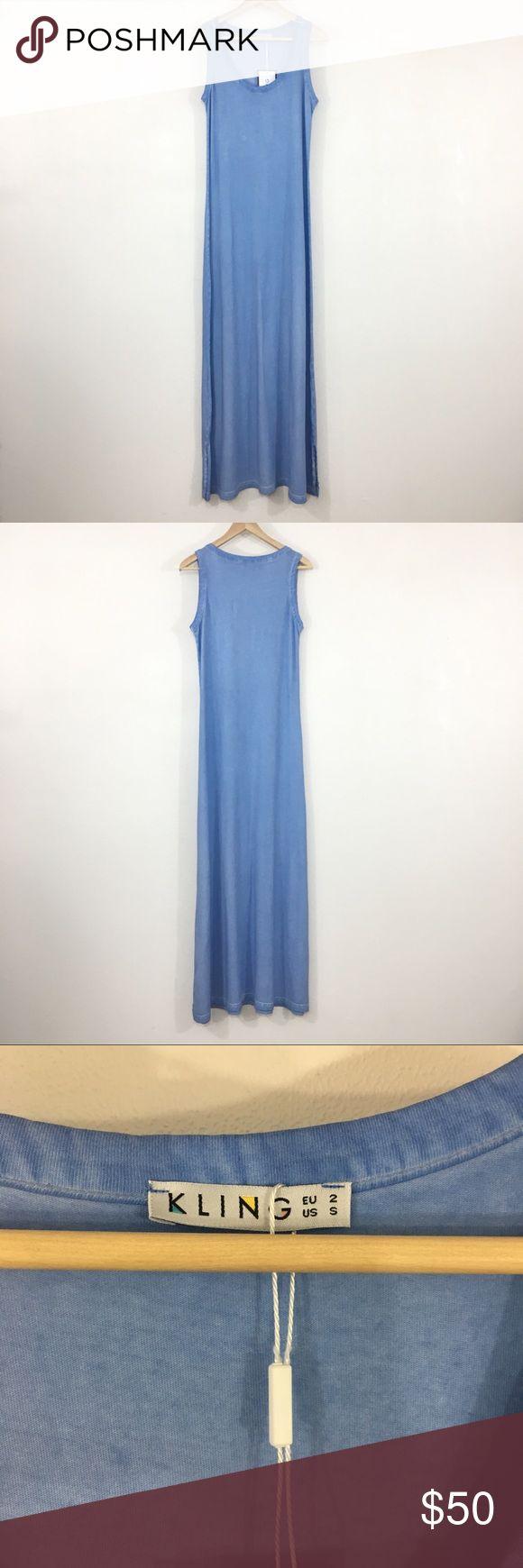 "🆕 Listing!  Kling | 'Nada' Organic Dress Sky blue organic cotton extra long maxi dress.  Tank top style.  Love!!  Measurements  Armpit to armpit: 17"" Waist: 32"" Length: 58"" Kling Dresses Maxi"