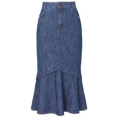 Saia jeans mídi rabo de peixe Maria Filó