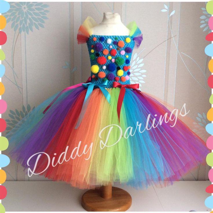 clown tutu dress clown arc en ciel inspire tutu fait a la main etsy
