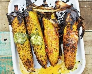 Grilled sweetcorn with flavoured butters recipe