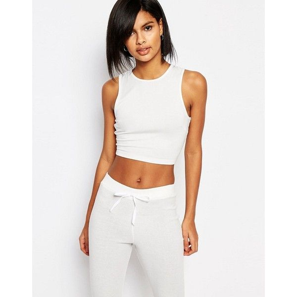 Vero Moda Jersey Crop Top (85 DKK) ❤ liked on Polyvore featuring tops, white, jersey top, vero moda tops, white tops, bodycon tops and jersey crop top