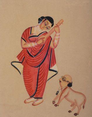 Courtesan & the Babu - Kalighat painting