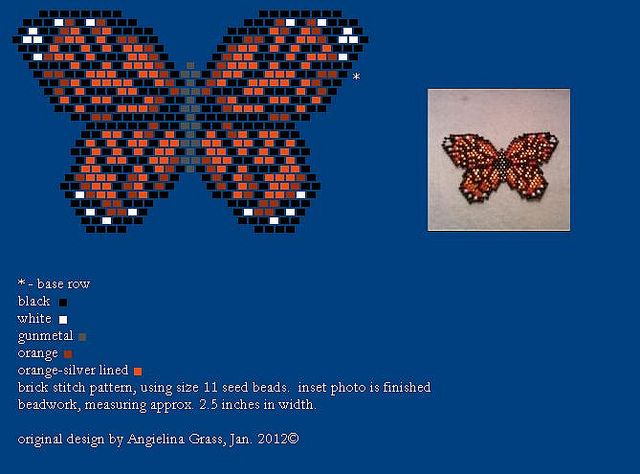 Monarch butterfly beadwork pattern + finished beadwork BY ANGIELINA GRASS, 2012©  DO NOT ALTER THIS IMAGE, THIS IS MY PROPERTY