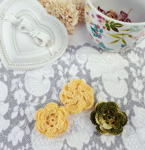 3 embroidered flower patches yellow crochet flowers olive applique by Rocreanique on Etsy