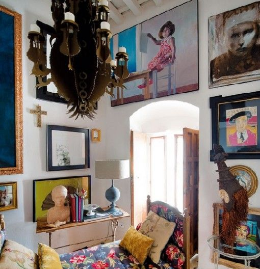 living room with unusual paintings