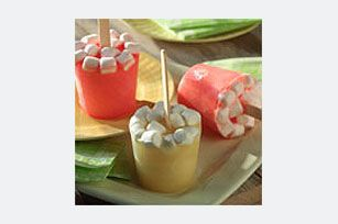 Fruity Marshmellow  Popos  Homemade fruit pops are fun and easy to make. Flavored with gelatin and apple juice and studded with mini marshmallows, these frozen pops are sure to appeal to kids of all ...read more