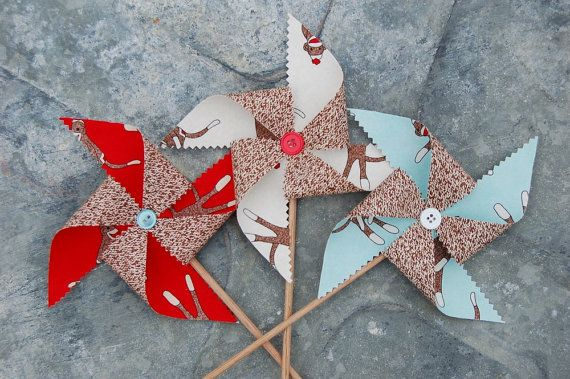 Red Blue and White Sock Monkey Pinwheel Decorations by SewSoapy, $12.00