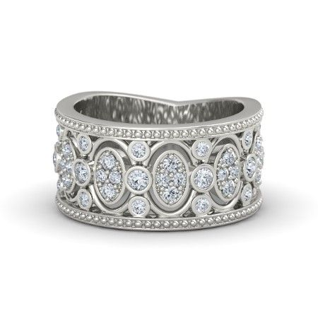 14K White Gold Ring with Diamond | Renaissance Band | Gemvara