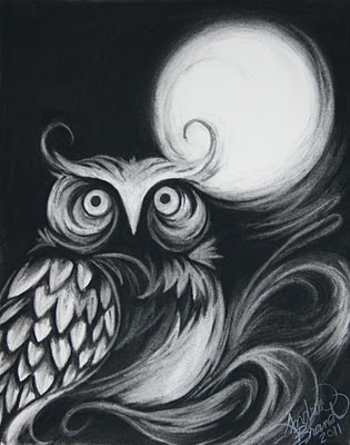 Night Owl - charcoal on paper  Andrea Brand #Black
