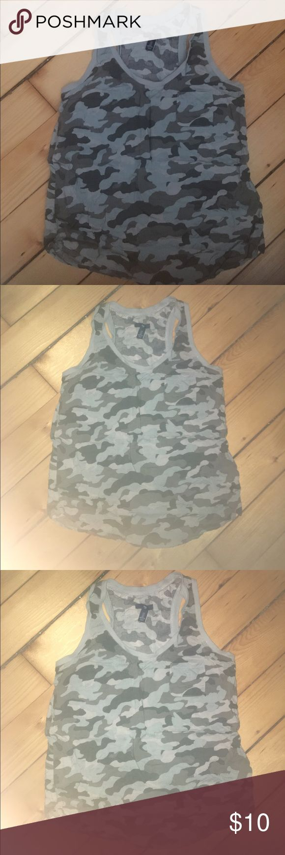GAP Racerback camo tank top Camouflage tank top slightly sheer. Nice cool fit. Breathable material size S , great for beach days and working out. Offers welcome. GAP Tops Tank Tops