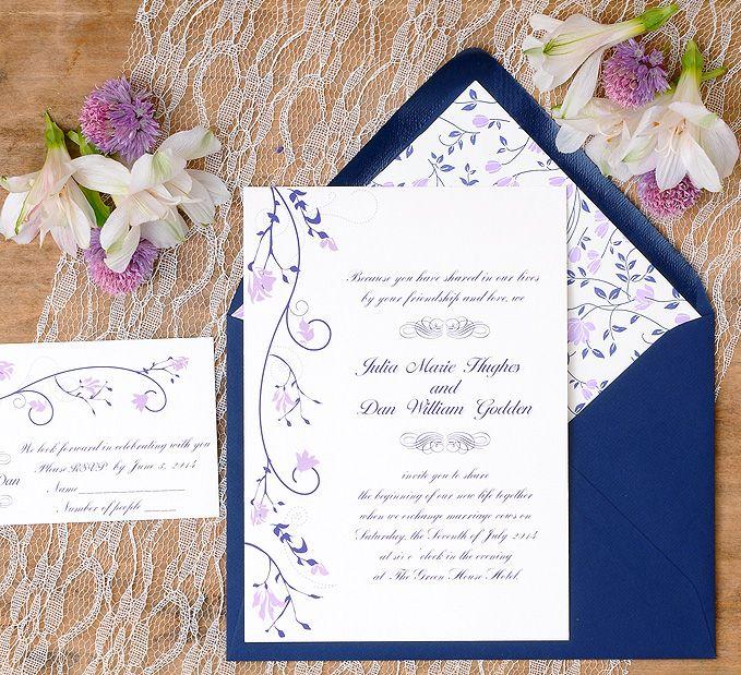 Invitaciones de boda con motivos florales en azul y malva. www.azulsahara.com #i…