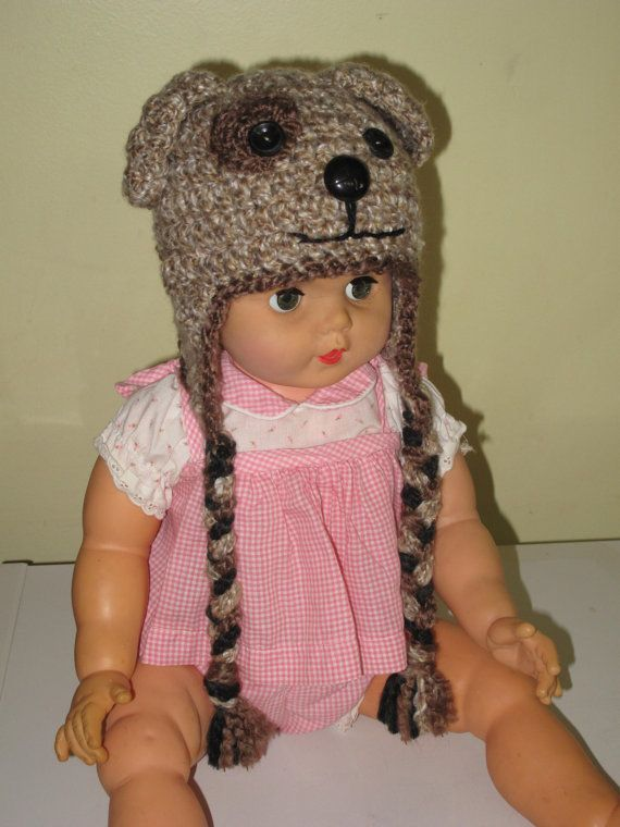 """Light brown puppy hat for toddlers - different colours/sizes if you custom order.  Put it on your little one, ask them, """"What does the dog say?"""" and pass out from the cute overload that follows."""