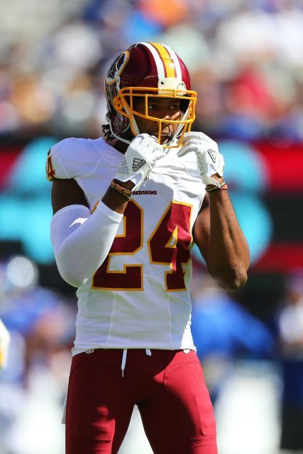 Josh Norman of the Washington Redskins looks on against the New York Giants at MetLife Stadium on Sept. 25, 2016 in East Rutherford, N.J.