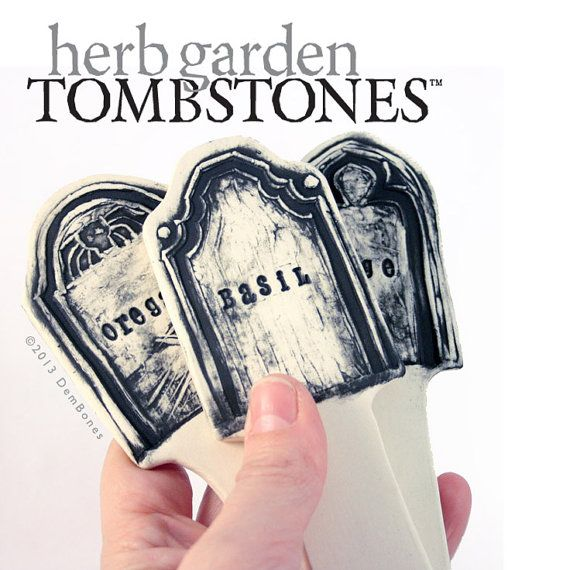 Garden Herb Markers Tombstone Herb Stakes  Oregano by dembones, $20.00