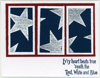 handmade card ... patriotic theme ... white and blue with a pop of red ... split panel design ... large stars stamped on a blue background ... good for several holidays, not just the 4th of July ...