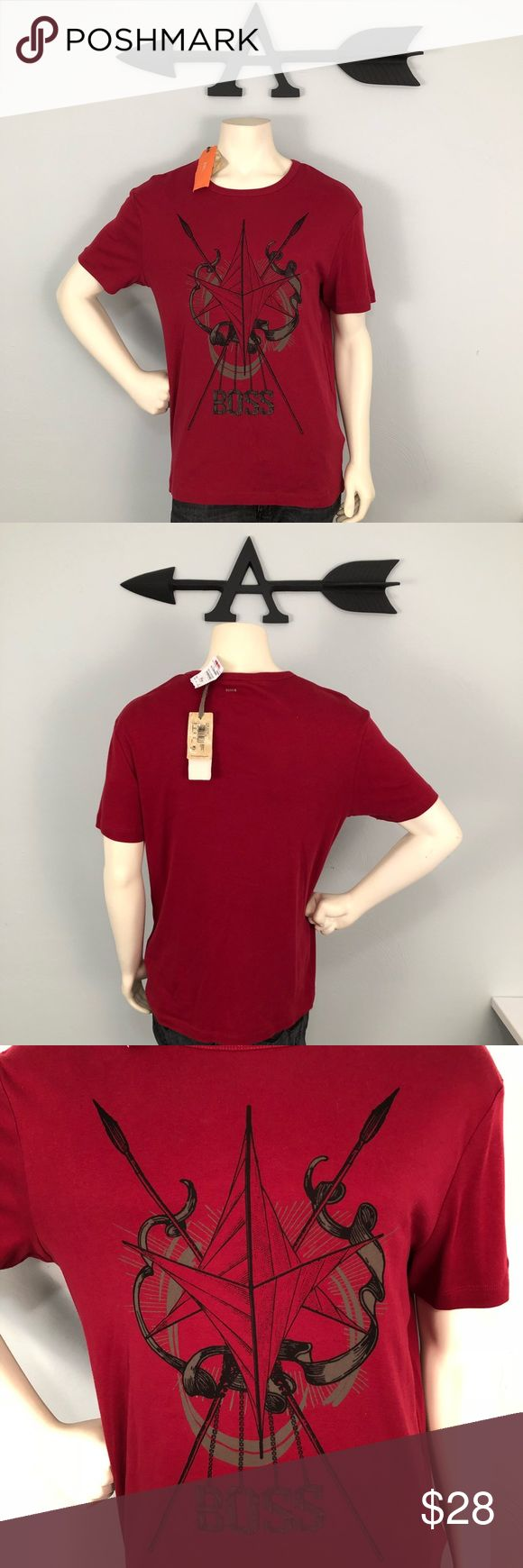 """Hugo Boss •NWT• Graphic Tee Shirt size XL This shirt is brand new and is in perfect condition. Great graphics on the front with a beautiful deep red background. Shirt fits a bit smaller than some XL, athletic or tailored fit. Chest measures 21"""" and the height is 27"""". Please feel free to ask further questions and all offers will be considered.  ••Posh Ambassador•• ••Bundle Like=15% DISCOUNT & Less Shipping Hugo Boss Shirts Tees - Short Sleeve"""