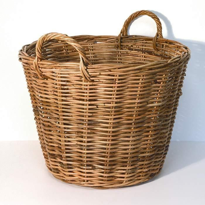 Fireside Tapered Round Wicker Log Toy Basket - Medium, Brown