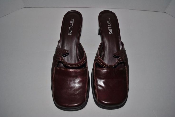 Two Lips Women's Mules Clogs Heels Shoes Slip Ons Burgundy Maroon Size 9M #TwoLips #Mules #CasualWeartoWork