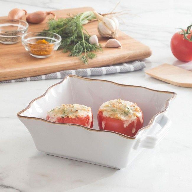 KSP Tuscana Medium Square Fluted Bakeware with Handle (White)