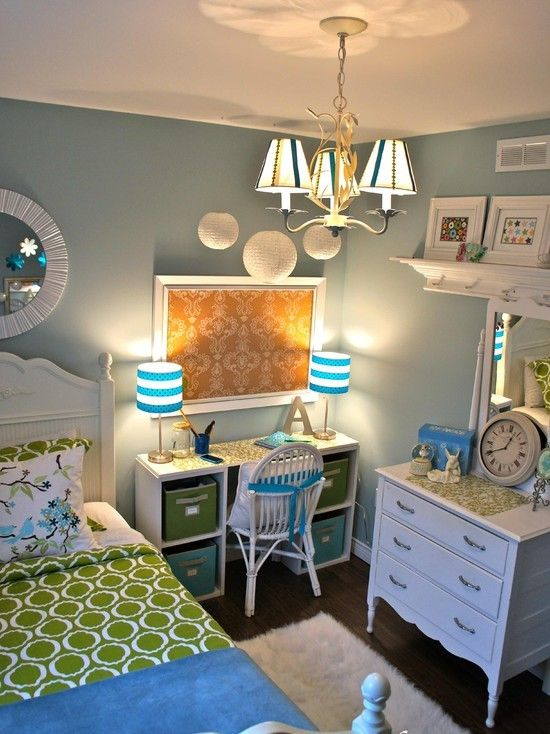Girl teen room idea cute small diy desk kids for Blue and green girls bedroom ideas