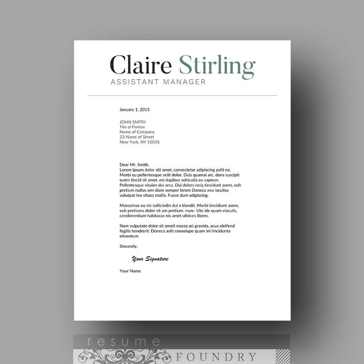 Cover Letter Template by  ResumeFoundry  Stylish and professional cover letter template + CV template for just $15