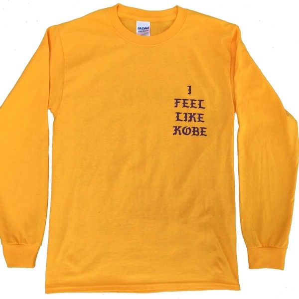 I Feel Like Kobe Yellow Gold Long Sleeve T Shirt ($14) ❤ liked on Polyvore featuring tops, t-shirts, longsleeve t shirts, long sleeve tops, long sleeve t shirts, yellow top and gold tee