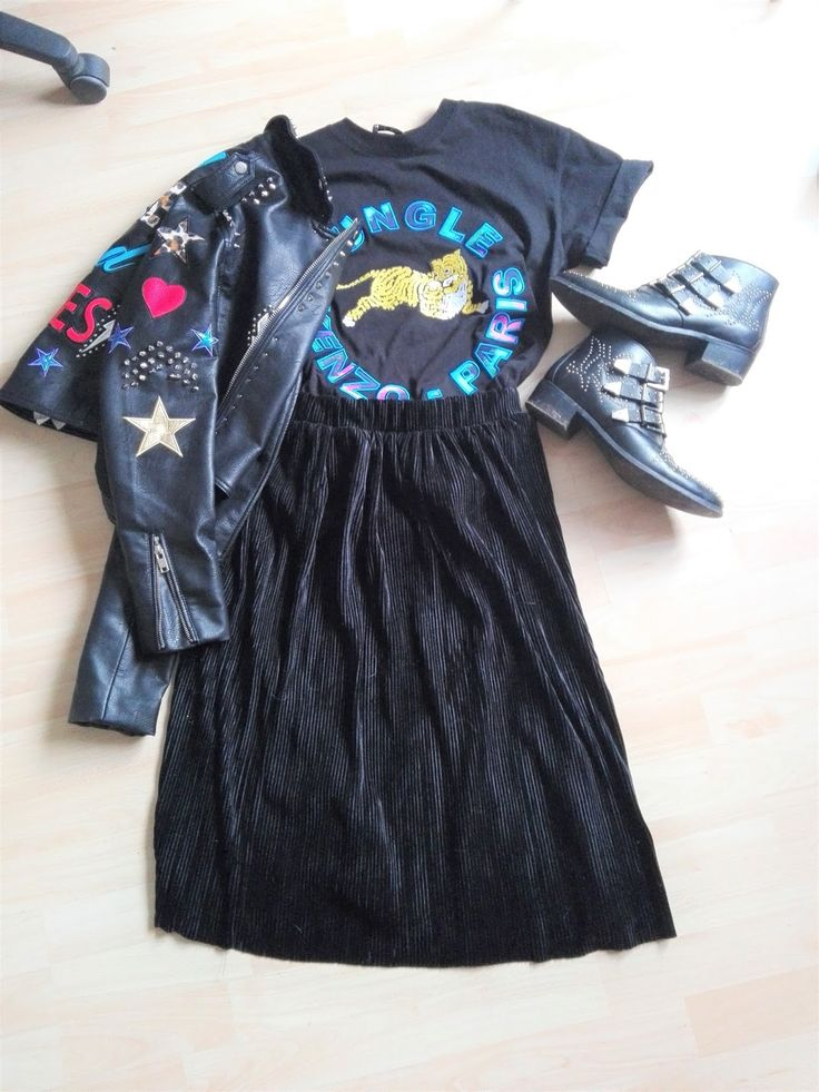 studded leatherjackte kenzo and Plissee Fashion inspo