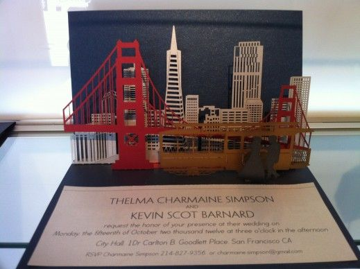 """This """"San Francisco"""" themed pop-up laser cut wedding invitation was created by our partners at Artifacture. Paper Passionista would love to work on creating a Seattle skyline invitation with Artifacture and you! Customize yours with Paper Passionista."""