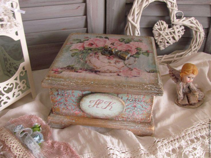 """Купить Шкатулка """"Свежесть утра"""" - голубой, розовый, чаепитие, чай, короб для хранения, короб для специй"""