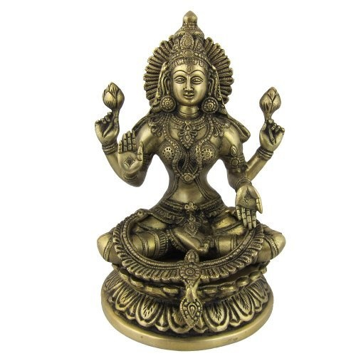 Amazon.com: Goddess Laxmi Statue Brass Figurines Hinduism Indian 6 X 5.75 X 9.5 Inches: Home & Kitchen