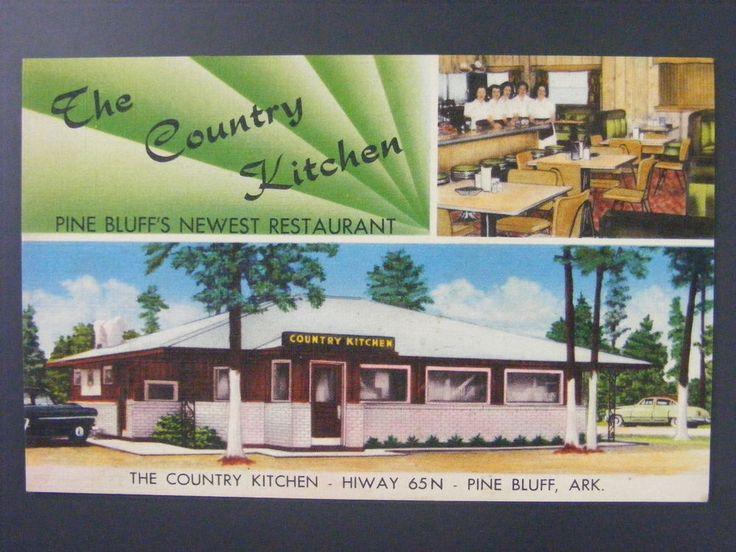 Pine Bluff Arkansas The Country Kitchen Restaurant Linen Postcard 1940s Vintage