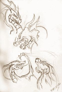 how to draw:  Dragon Heads