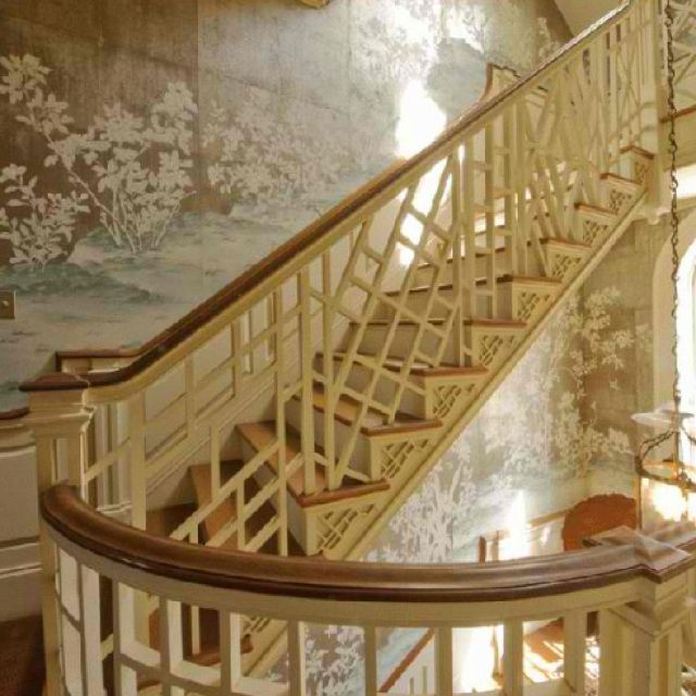 Chinese Chippendale staircase. Elegant, interesting, and classic!