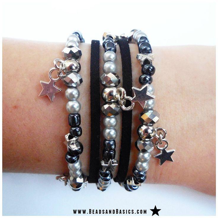 Maak je eigen Feestelijke wikkelarmband - DIY/ Zelf maken / Zwart wit armbandje / Beads & Basics   Online Kralen Kopen