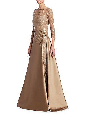 Teri Jon By Rickie Freeman Illusion Top Gown