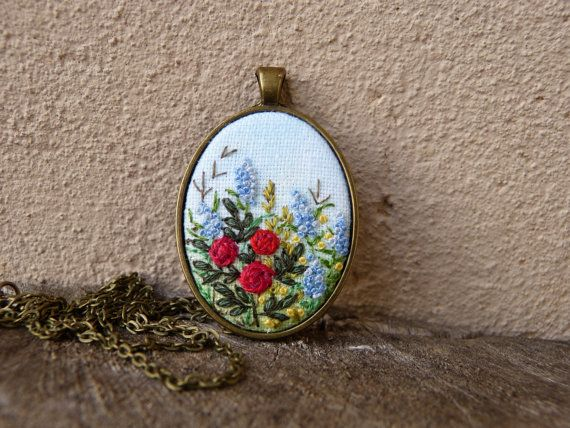 Embroidered flowers necklace Floral pendant by EmbroideredJewerly
