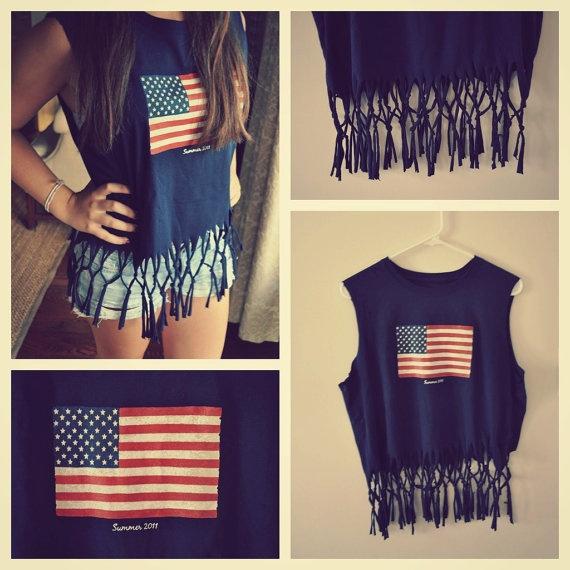 Repurposed Fringed Navy American Flag Tank / Shirt / Summer / Women's