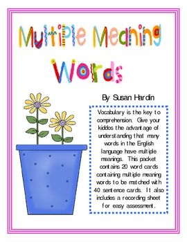 Your kiddos will love playing this matching game as they learn the multiple meanings of many different words included in this packet. $6.00