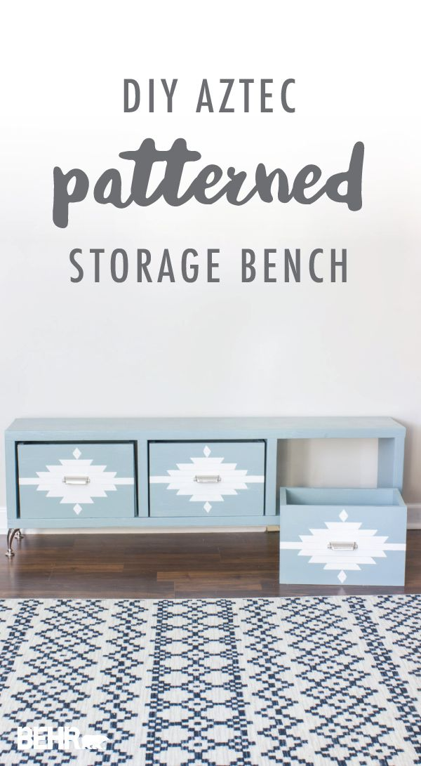 Southwestern chic is all the rage thanks to this DIY Aztec patterned storage bench from Erin, of Erin Spain. Start with the BEHR 2018 Color of the Year. Erin combined the tranquil blue hue of In The Moment with a modern geometric pattern in Soft Focus. Then, she added polished nickel furniture legs and drawer pulls from Liberty Hardware to complete this creative furniture build.